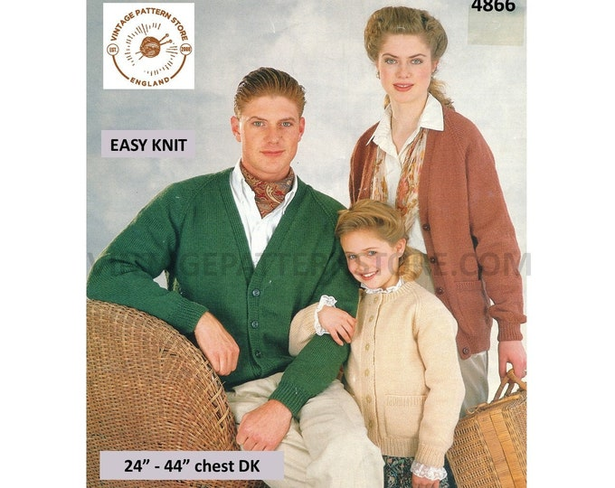 """Womens Mens Girls Boys 90s Family quick and easy to knit DK V or round neck raglan cardigan pdf knitting pattern 24"""" to 44"""" Download 4866"""