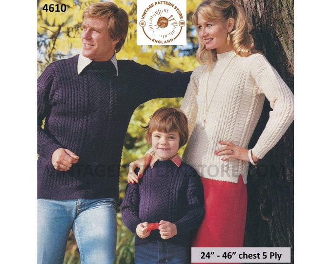"""Womens Mens Boys Girls Family 5 ply crew neck cable cabled and textured raglan sweater jumper pdf knitting pattern 24"""" to 46"""" Download 4610"""