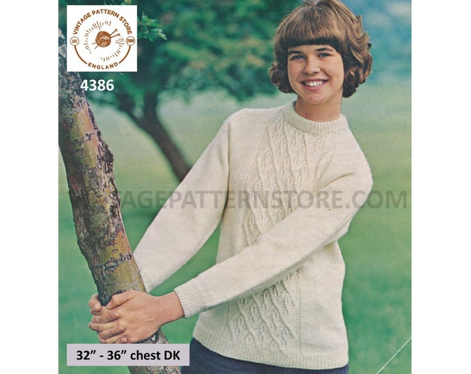 """Ladies Womens Girls 70s vintage crew neck cabled cable panel raglan aran sweater jumper pdf knitting pattern 32"""" to 36"""" chest Download 4386"""