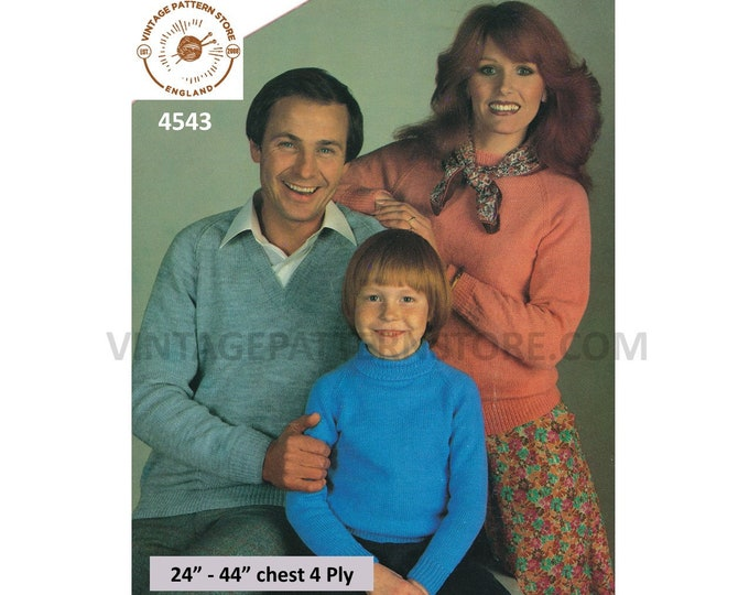 """Womens Mens Girls Boys 80s 4 ply plain simple quick & easy to knit raglan sweater jumper pdf knitting pattern 24"""" to 44"""" Download 4543"""