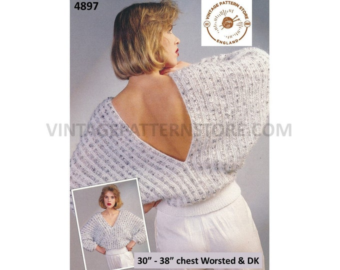 """Ladies Womens 90s Worsted & DK V neck backless striped batwing sweater jumper pdf knitting pattern 30"""" to 38"""" Download 4897"""