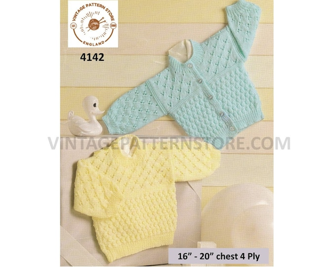 "Baby Babies 90s round neck lacy & textured 4 ply raglan sweater jumper and cardigan pdf knitting pattern 16"" to 20"" chest PDF Download 4142"