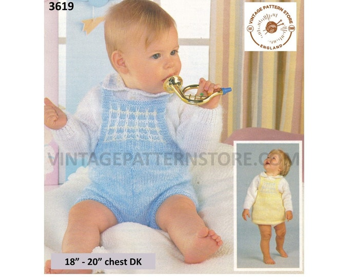 "Baby Babies 80s vintage DK romper play suit and shirt neck sweater & pinafore dress pdf knitting pattern 18"" to 20"" chest PDF download 3619"