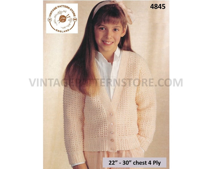 """Girls 90s fun simple quick and easy to knit plain 4 ply V neck raglan cardigan pdf knitting pattern 22"""" to 30"""" Instant PDF Download 4845"""