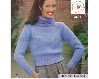 """Ladies Womens 80s vintage plain and simple easy to knit polo neck raglan DDK sweater jumper pdf knitting pattern 32"""" to 38"""" Download 3697"""
