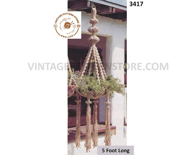 70s vintage macrame plant hanger pdf macrame pattern, 70s vintage retro Indoor garden gardening 5 foot long Instant PDF download 3417