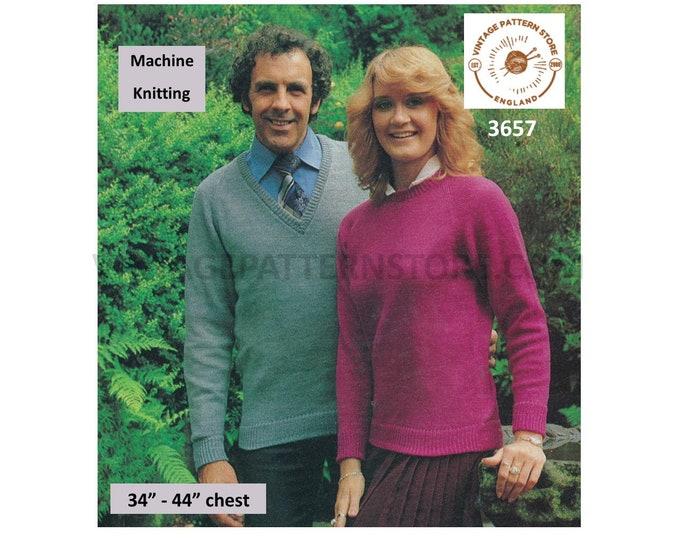 "Ladies Womens Mens 80 vintage round and V neck plain and simple raglan sweater jumper machine knitting pattern 34"" to 44"" PDF download 3657"