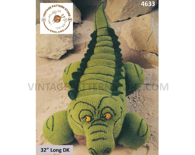 "90s vintage DK cuddly toy crocodile toy pdf knitting pattern 32"" Long instant PDF Download 4633"