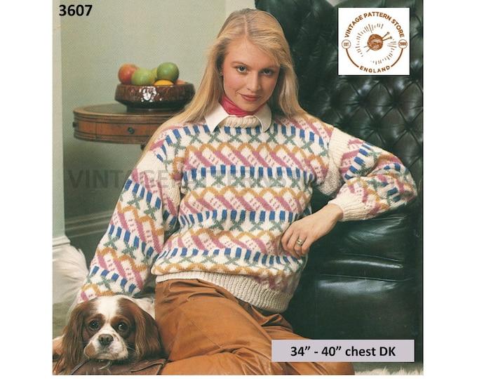 "Ladies Womens 80s vintage crew neck drop shoulder dolman fair isle sweater jumper pdf knitting pattern 34"" to 40"" bust PDF download 3607"