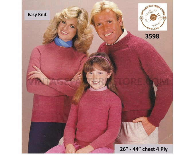 """Ladies Womens Mens Boys Girls 80s family plain & simple easy to knit round neck 4 ply sweater pdf knitting pattern 26"""" to 44"""" download 3598"""