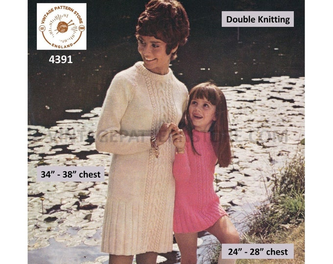 """Ladies Womens Girls 60s vintage crew neck cable cabled midi sweater dress PDF knitting pattern 24"""" to 28"""" & 34"""" to 38"""" chest Download 4391"""