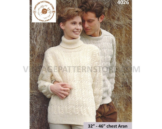 """Ladies Womens Mens 90s crew or polo neck drop shoulder cable cabled dolman aran sweater jumper pdf knitting pattern 32"""" to 46"""" Download 4026"""