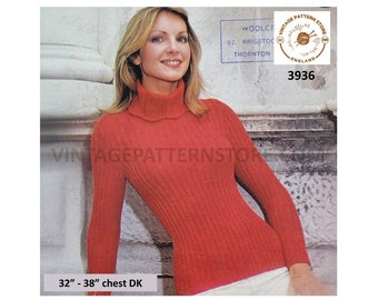 """Womens 70s vintage skinny rib ribbed lacy scallop edge polo neck DK raglan sweater jumper pdf knitting pattern 32"""" to 38"""" Download 3936"""