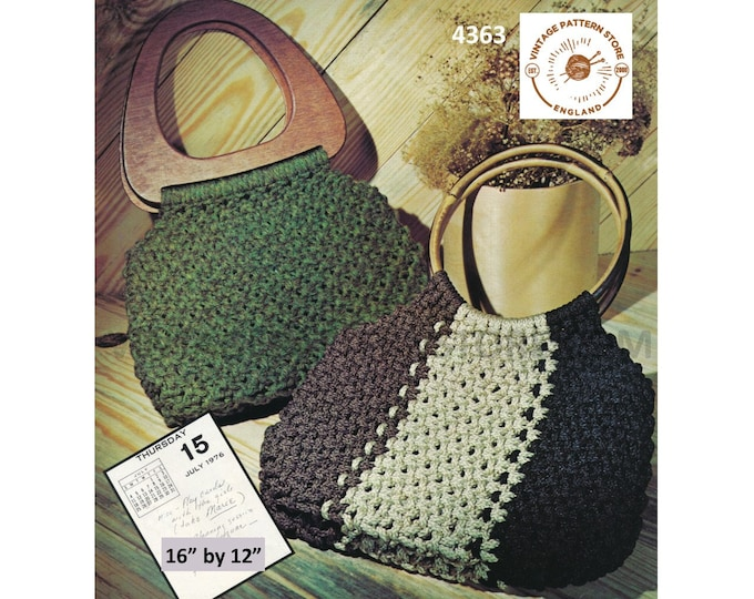 """70s vintage macrame hand bag purse pdf macrame pattern 2 designs with easy fit to multiple handles 16"""" by 12"""" Instant PDF Download 4363"""