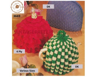 70s Vintage retro DK and 4 ply lacy frilled and fluted tea cosy pdf knitting pattern Instant PDF download 3669