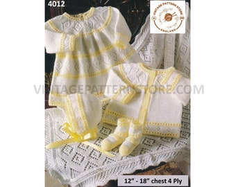 """Premature preemie baby babies 4 ply lacy dress matinee jacket coat bonnet booties shawl pdf knitting pattern 12"""" to 18"""" Download 4012"""