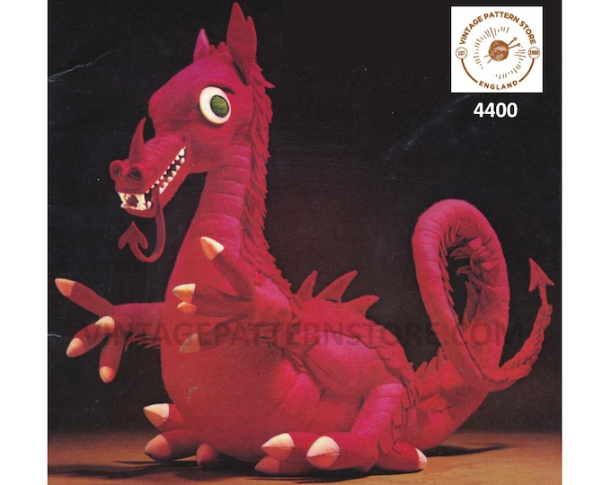 70s vintage cuddly toy dragon pdf sewing pattern Instant PDF Download 4400