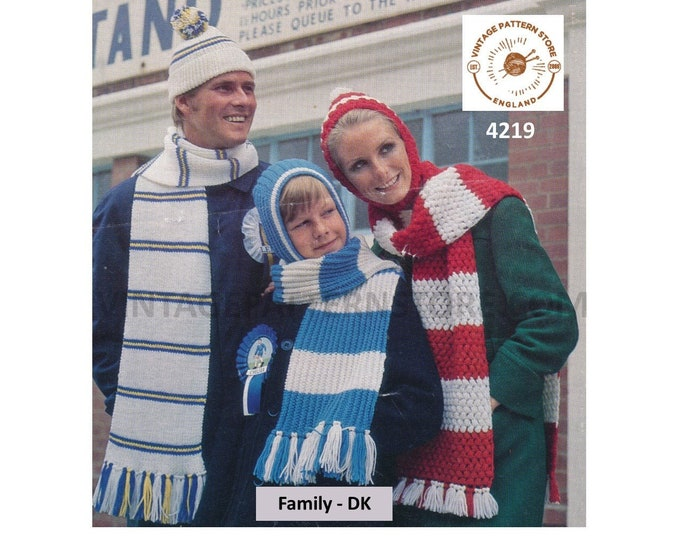 Ladies Womens Mens Boys Girls 60s family hat and scarf pdf knitting & crochet pattern 3 designs Instant PDF Download 4219