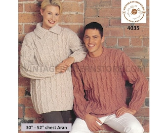 """Womens Mens 90s cable cabled drop shoulder extra large plus size oversized aran sweater jumper pdf knitting pattern 30"""" to 52"""" download 4035"""