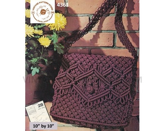 "70s vintage macrame hand kelly bag purse pdf macrame pattern 10"" by 10"" Instant PDF Download 4361"