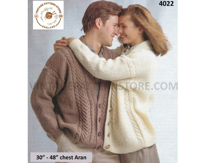 """Ladies Womens Mens 90s V neck cable cabled texture drop shoulder dolman aran cardigan jacket pdf knitting pattern 30"""" to 48"""" Download 4022"""