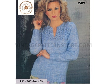 "Ladies Womens 80s vintage DK split shirt neck cable yoke yoked raglan sweater jumper pullover pdf knitting pattern 34"" to 40"" Download 3589"