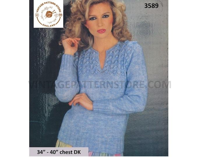 """Ladies Womens 80s vintage DK split shirt neck cable yoke yoked raglan sweater jumper pullover pdf knitting pattern 34"""" to 40"""" Download 3589"""