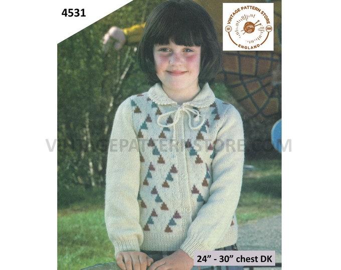 "Girls 80s vintage DK picot collar tie neck intarsia raglan cardigan pdf knitting pattern 24"" to 30"" chest Instant PDF Download 4531"