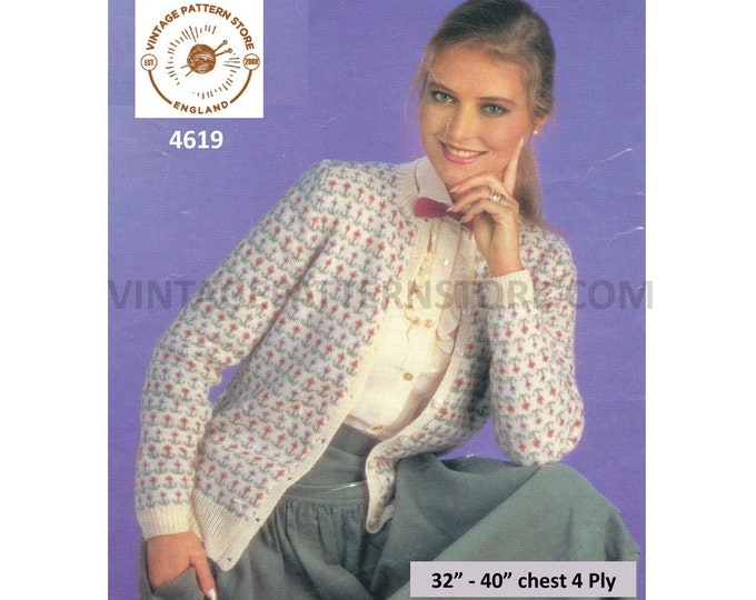 "Ladies Womens 80s vintage round neck floral fair isle banded 4 ply raglan cardigan pdf knitting pattern 32"" to 40"" Download 4619"