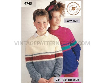 """Girls Boys 90s fun quick and easy to knit DK crew neck striped raglan sweater jumper pullover pdf knitting pattern 24"""" to 34"""" Download 4743"""