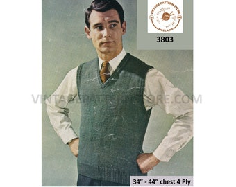 """Mens Mans 70s plain and simple easy to knit 4 ply V neck slipover sweater vest tank top pdf knitting pattern 34"""" to 44"""" PDF download 3803"""