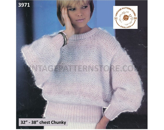 """Ladies Womens 90s fun quick and easy chunky knit round neck batwing sweater jumper pdf knitting pattern 32"""" to 38"""" PDF download 3971"""