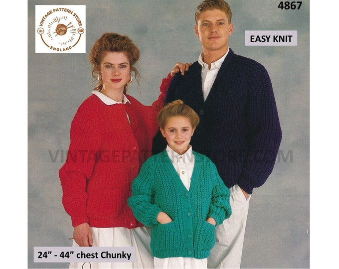 """Womens Mens Girls Boys 90s Family chunky quick & easy to knit V or round neck raglan cardigan pdf knitting pattern 24"""" to 44"""" Download 4867"""