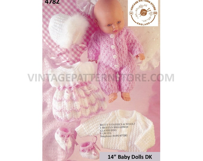 "90s DK 14"" Baby doll clothes pram set layette dress jacket all in one play suit bonnet & bootees pdf knitting pattern PDF Download 4782"