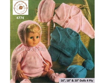 "70s vintage 16"" 18"" 20"" 4 ply baby dolls clothes cardigan cape sweater shorts hat bootees bonnet dress pdf knitting pattern Download 4774"