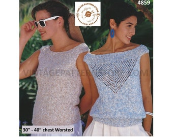 """Womens 90s worsted off shoulder boat neck lacy and plain easy to knit slipover Summer top pdf knitting pattern 30"""" to 40"""" PDF Download 4859"""
