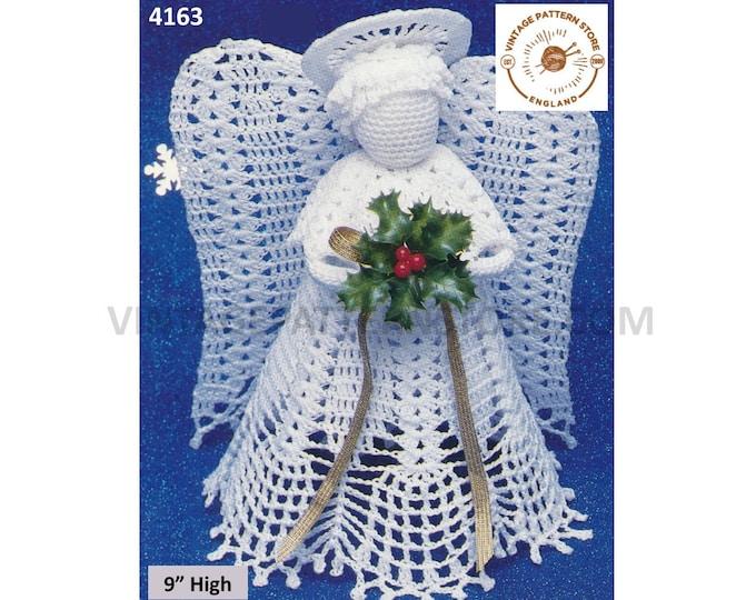 "80s vintage crochet tree topper angel fairy Christmas tree ornament decoration pdf crochet pattern 9"" High Download 4163"
