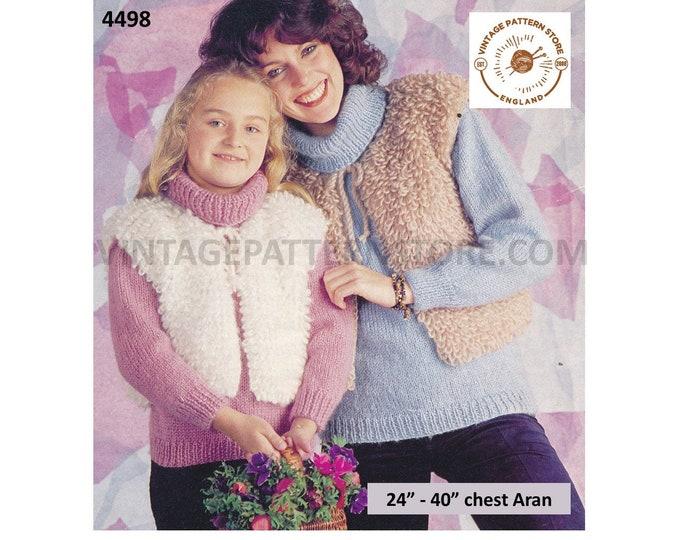 "Womens Girls 70s vintage round neck loopy aran jerkin waistcoat & polo neck sweater jumper pdf knitting pattern 24"" to 40"" PDF Download 4498"