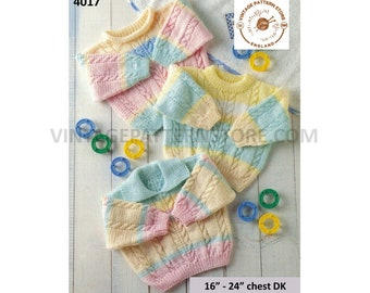 """Baby Babies Toddlers Boys Girls 90s DK collared round roll neck twist cable sweater jumper pdf knitting pattern 16"""" to 24"""" PDF download 4017"""
