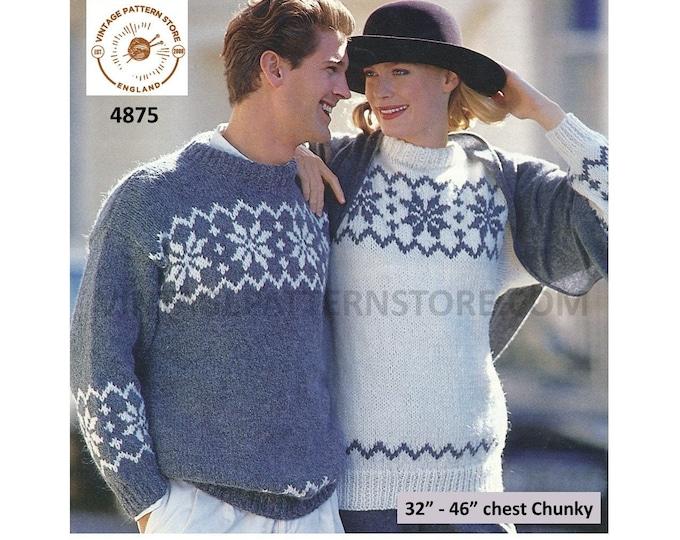 "Womens Ladies Mens 90s chunky knit snowflake fair isle drop shoulder dolman sweater jumper pdf knitting pattern 32"" to 46"" PDF Download 4875"