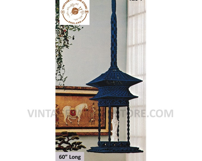 "70s vintage oriental macrame plant hanger shelf pdf macrame pattern 70s vintage retro indoor garden 60"" Long Instant PDF download 4294"