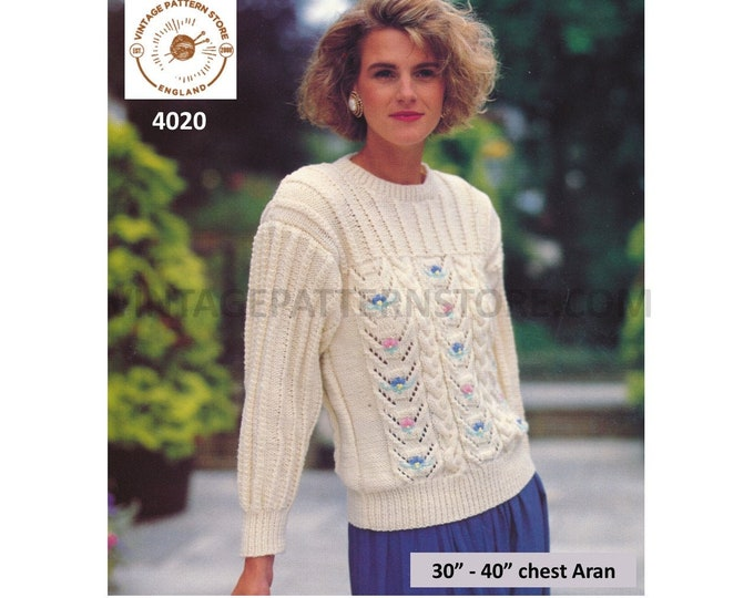 """Womens 90s round neck cable cabled yoke yoked lacy eyelet lace raglan aran sweater jumper pdf knitting pattern 30"""" to 40"""" Download 4020"""
