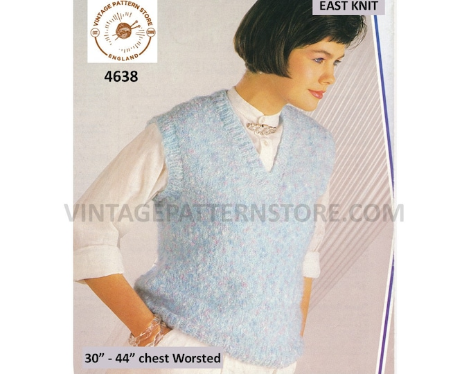 """Womens 90s worsted fun quick and very easy to knit V neck sleeveless sweater vest jumper pdf knitting pattern 30"""" to 44"""" Download 4638"""