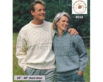 "Ladies Womens Mens 90s split funnel or crew neck cable yoke drop shoulder aran sweater jumper pdf knitting pattern 34"" to 48"" Download 4018"