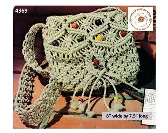 "70s vintage boho bohemian beaded macrame shoulder bag purse pdf macrame pattern 8"" by 7.5"" Instant PDF Download 4369"