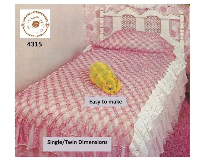 70s vintage easy to make single twin bed sized macrame bedspread pdf macrame pattern Instant PDF Download 4315