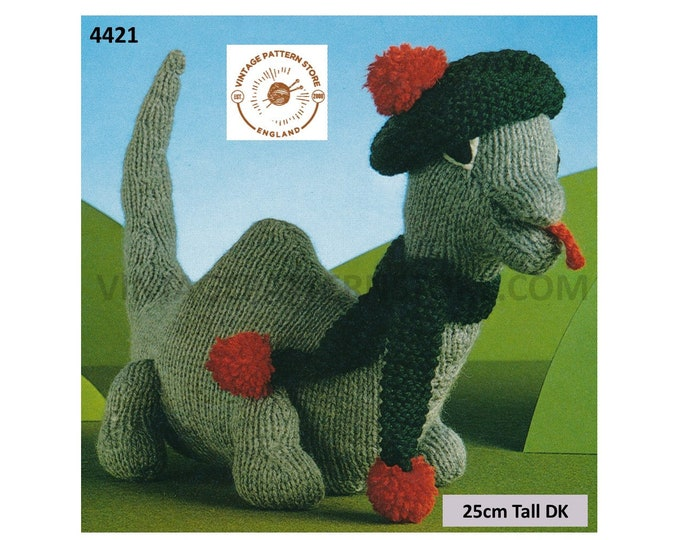 80s vintage DK Scottish Loch Ness Monster cuddly toy dragon pdf knitting pattern 25cm high by 30cm long Instant PDF Download 4421