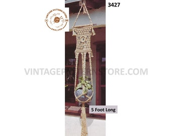 70s vintage retro macrame plant hanger pdf macrame pattern, 70s vintage retro indoor garden gardening 5 foot long PDF download 3427