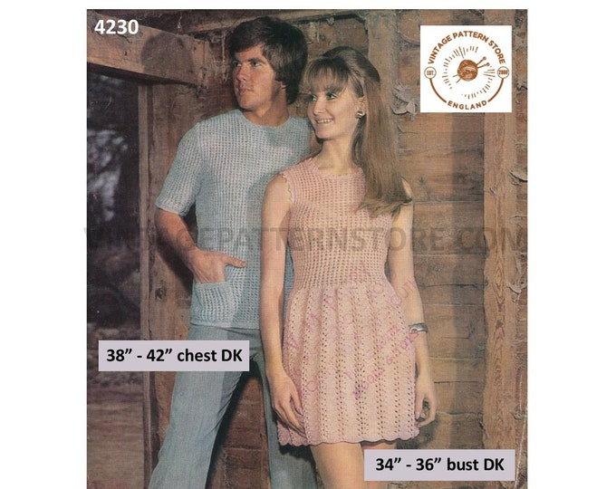 """Ladies Womens 70s vintage lacy sleeveless picot dress & Mens Mans short sleeve sweater pdf knitting crochet pattern 34"""" to 42"""" Download 4230"""