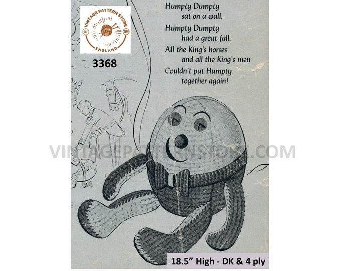 """50s vintage DK and 4 ply cuddly toy Humpty Dumpty pdf knitting pattern 18.5"""" High Instant PDF download 3368"""